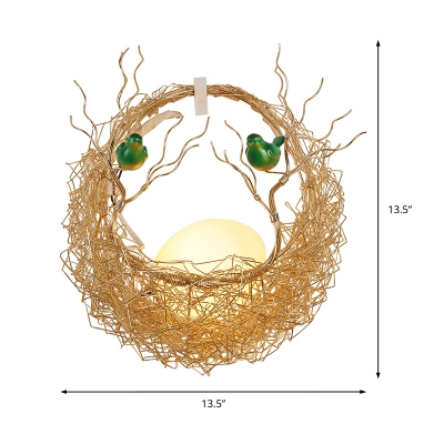 Aluminum Nest Wall Lighting Nordic 1 Light Decorative Wall Mount Lighting in Brass with White Glass Shade