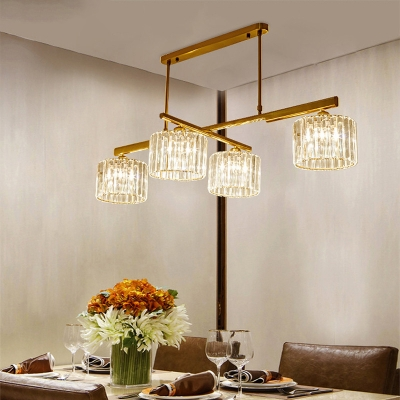 Brass Cylinder Hanging Lights Modern Crystal and Metal 4 Heads Lighting Fixture for Kitchen Dining HL562541 фото
