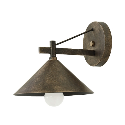 Bronze Cone Shade Wall Lamp 1 Light Traditional Metal Wall Light Fixture for Warehouse