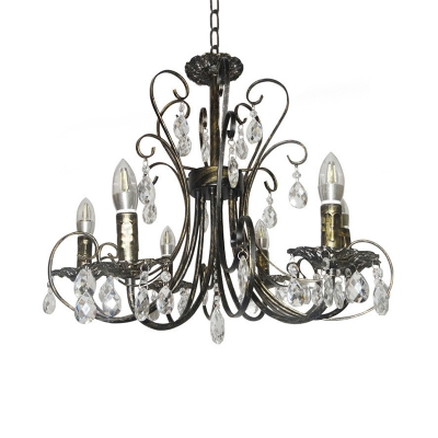 Country Style Candle Chandelier Lighting with Crystal Accents 6 Lights Brass Suspension Lamp