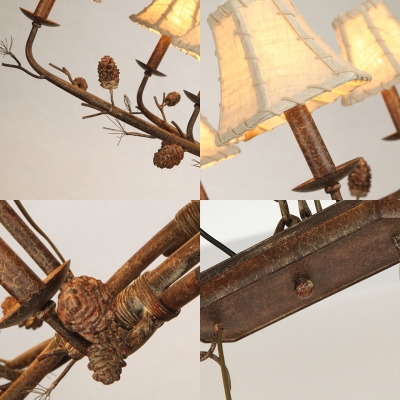 Empire Shade Chandelier Lamp Country Style 8 Lights White Fabric Pendant Lamp in Rust