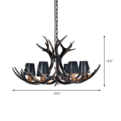 Fabric Conic Pendant Lighting with Antlers Modernist 3/6/8/12 Lights Hanging Light Fixture in Black for Living Room