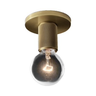 Globe/Cone/Cylinder/Trumpet Glass Flush Pendant Ceiling Light Modern 1 Light Flushmount Lighting in Brass for Balcony
