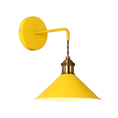 Gray/Pink/Yellow/Green Cone Wall Lighting Modern Metal 1 Head Wall Mount Light with Straight Arm for Hallway, 8.5