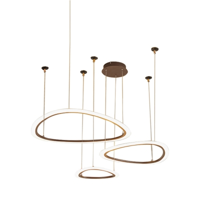 Integrated Led Triangle Pendant Lamp Nordic Metal 3/4-LED Chandelier Lighting in Brown with Diffuser