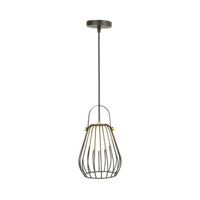 Metal Cage Gourd Drop Ceiling Light with Orb Opal Glass Shade 1 Light Modern Pendant Light in Black/White/Rose Gold