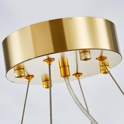 Multi-Tier Crystal Pendant Lights for Indoor, Modern Metal Round Chandelier Light in Gold