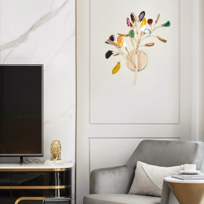 Office Bedroom Flower Wall Light Metal and Colorful Crystal 2 Lights Luxurious Gold Sconce Light
