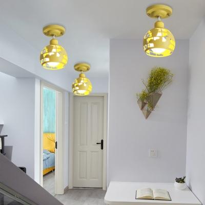 Pink/Yellow/Blue Domed Semi-Flush Light Modern Metal 1 Head Lighting Fixture for Hallway