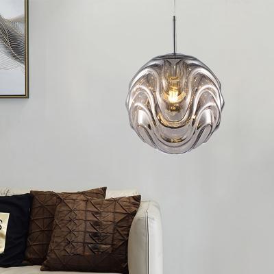 Ripple Globe Hanging Pendant Light Modern Acrylic Decorative Suspension Light in Black/Blue/Copper/Gold/Silver