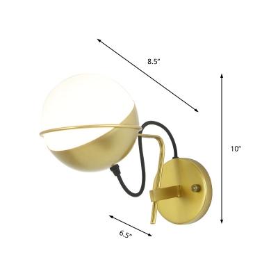 Sphere Sconce Lighting Mid Century Modern 1 Light Satin Opal Glass Wall Light for Bedside
