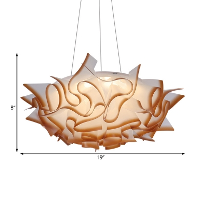 Waved Drop Ceiling Light Contemporary Acrylic 1 Head Brown/White Pendant Lamp in Third Gear