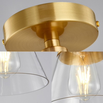 1 Light Gold Finish Semi Flush Mount Light with Conical Shade and Clear Glass Minimalist Semi Flush Ceiling Light