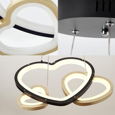 3 Lights Led Heart Pendant Lighting Modern Metallic Chandelier Light in Black and Gold