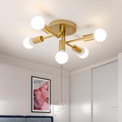 5 Lights Armed Semi Flush Lamp Iron Mid Century Modern Semi Flush Ceiling Light In Black Gold Beautifulhalo Com