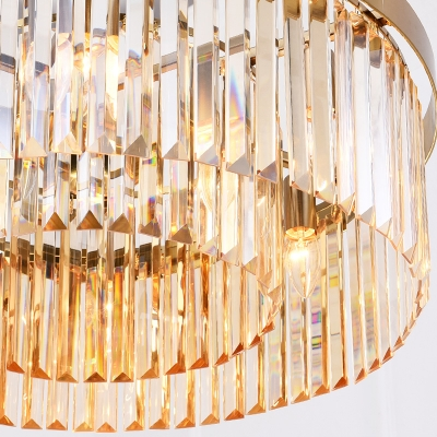6/8 Lights 2 Tiers Chandelier Lamp Vintage Clear Faceted Crystal Hanging Pendant Light in Brass, 23.5