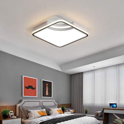 Bedroom Flush Mount Ceiling Light with Square Shade Modern LED Metal