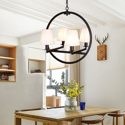 Black Ring Chandelier Lamp with Flaxen/White Fabric Shade 4 Bulbs Village Pendant Light for Dining Table