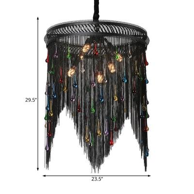 Black Tassel Chandelier Lighting 6 Lights Rustic Metal Chain Pendant Light for Living Room