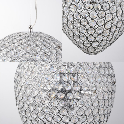 Chrome Teardrop Pendant Lighting Modern Clear Crystal Bead Multi Light Chandelier Lamp