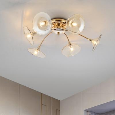 Clear Glass Trumpet Ceiling Light Mid Century Modern 6 Lights Semi Flush Light in Gold