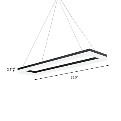 Contemporary Black Rectangle Chandelier Lighting 1 Head Led Ceiling Pendant Light with Acrylic Diffuser, White/Neutral/Warm Light