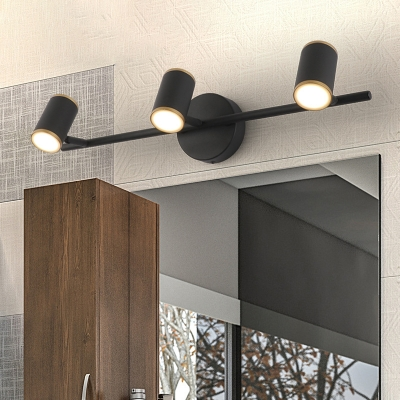 Contemporary Cylinder Vanity Light Metal 3 Lights Spotlight for Bathroom in Black/White