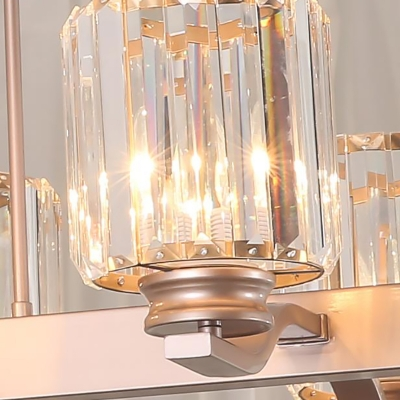 Copper Linear Pendant Modern 3 Heads Crystal Cylinder Hanging Lamp For Kitchen Dining Beautifulhalo Com