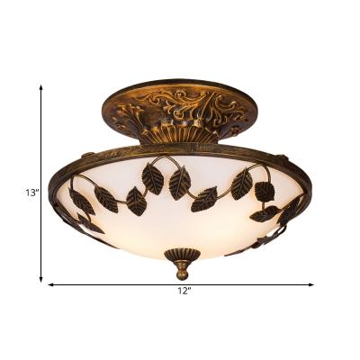 Country Style Bowl Semi Flush Light 12