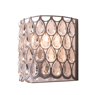 Crystal Half-Cylinder Flush Mount Wall Light with Metal Cage Contemporary 1 Light Wall Sconce in White
