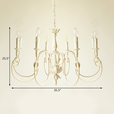 Distressed White Candle Hanging Ceiling Light French Country 6/8 Lights Indoor Chandelier Light