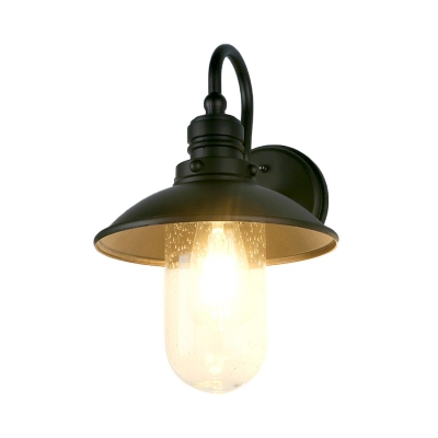 Flared/Cone Entry Sconce with Gooseneck Arm 1 Light Vintage Industrial Bubbled Glass Wall Sconce Lighting in Black