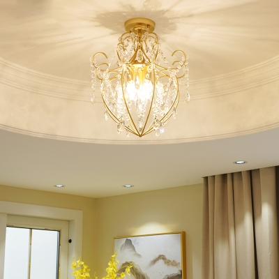 Gold Crystal Semi-Flush Mount Contemporary Iron 3 Heads Ceiling Light Fixtures for Living Room, HL561476