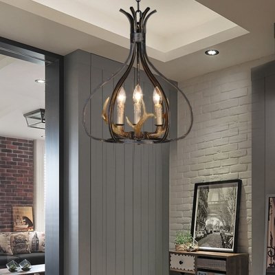 Indoor Vase Pendant Lighting with Resin Antler Country Style Metal 3/6 Lights Hanging Lamp
