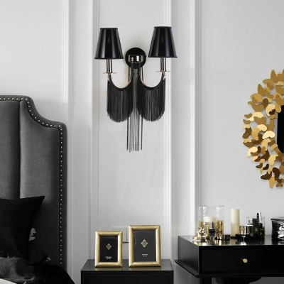Fabric Coolie Shade Wall Light Living Room 2 Lights Contemporary Sconce Lamp in Black/Silver