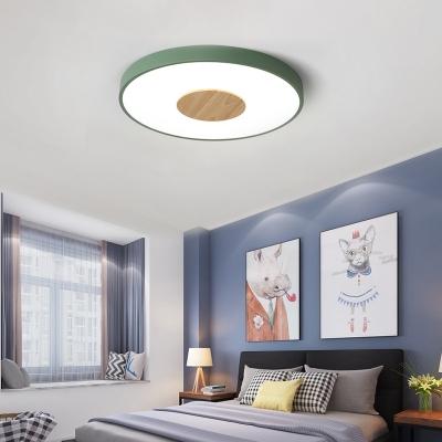 Metal Circular Flush Mount Lamp Integrated Led Macaron Living Room Flush Ceiling Light in Blue/Green/Pink, 12