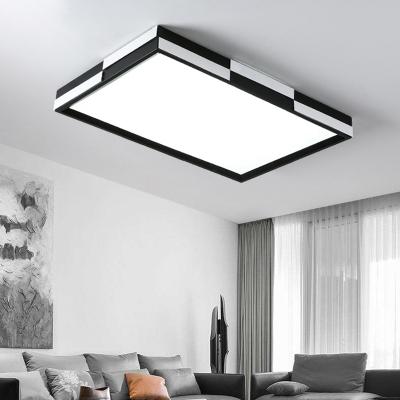 Minimalist Square/Rectangle Flush Light Black and White Metallic 1 Light 16