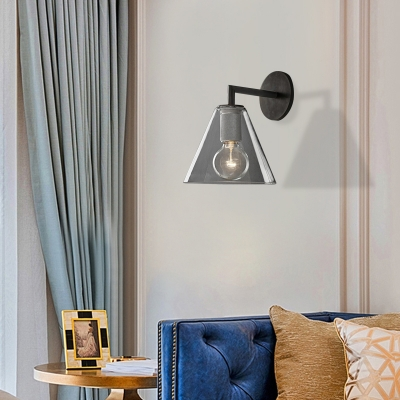 Modern Simple Cone Wall Light Transparent Glass 1/2 Lights Wall Sconce in Black/Brass for Bedside