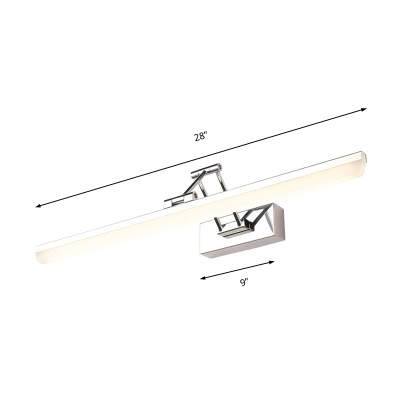 Modern Swing Arm Wall Sconce Light Metallic Polished Chrome LED Vanity Lighting