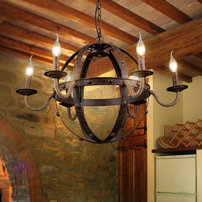 Rust Pendant Lighting with Candle Loft Style Iron Shade Hanging Ceiling Light for Dining Room