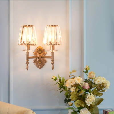 Tapered Clear Crystal Wall Light Fixture Modernist 1/2-Light Wall Sconce in Copper for Bedroom