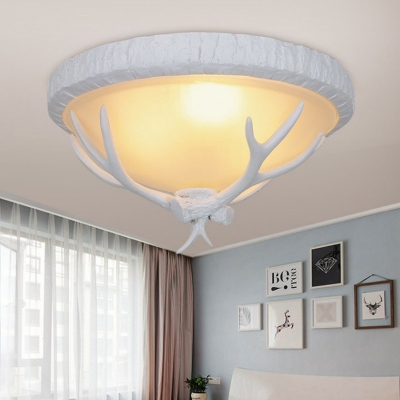White Antler Flush Lamp Resin 3 Lights Bedroom Ceiling Light with Frosted Glass Shade