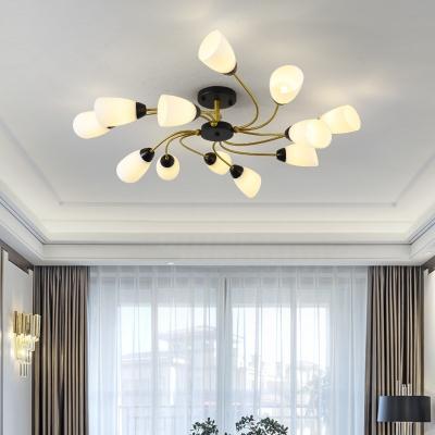 White Glass Cone Semi Flush Light with Sputnik Design Modern Flush Mount Ceiling Light