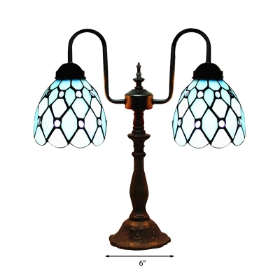Bronze Armed Blue Stained Glass Tiffany Two-light Buffet Table Lamp