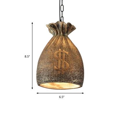 Money Bag Pendant Light Fixture Resin Vintage Style 1 Light Ceiling Pendant in Gold for Bar