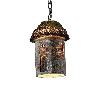 Green House Pendant Lamp Vintage 1 Light Resin Hanging Light with Metal Chain for Restaurant
