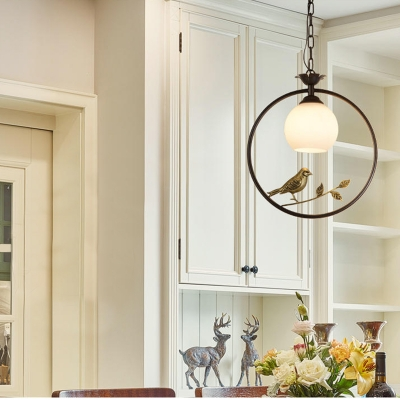 Black/Gold Ring Lighting Pendant Countryside 1 Light Metal Hanging Lamp with Opal Glass Dome Lampshade for Dining Table