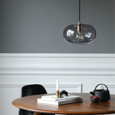 1 Light Dining Room Pendant Lamp Modern Copper Suspension Light with Drum Smoke Gray Glass Shade