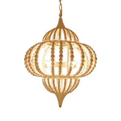 9 Lights Chandelier Pendant Cottage Lantern Shape White Wood Ceiling Light Fixture