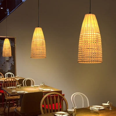 Bamboo Basket Pendant Light Asian Style Single Light Ceiling Hanging Light for Dining Table